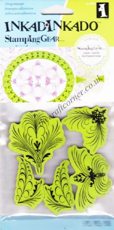 Elegant Flourishes Cling Rubber Stamps Set From Inkadinkado 65-32002